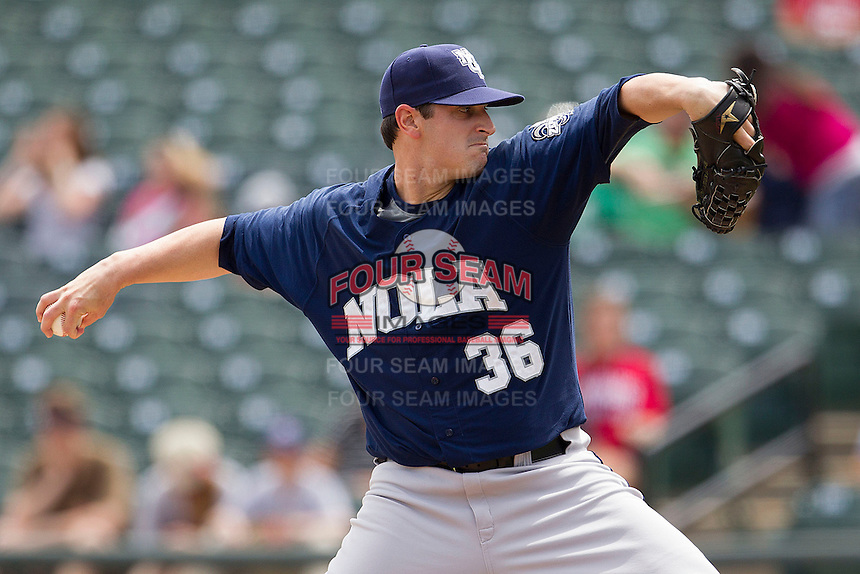 New Orleans Zephyrs starting pitcher Doug Mathis #36 delivers a pitch to the plate against the Round Rock Express in the Pacific Coast League baseball game on April 21, 2013 at the Dell Diamond in Round Rock, Texas. Round Rock defeated New Orleans 7-1. (Andrew Woolley/Four Seam Images).