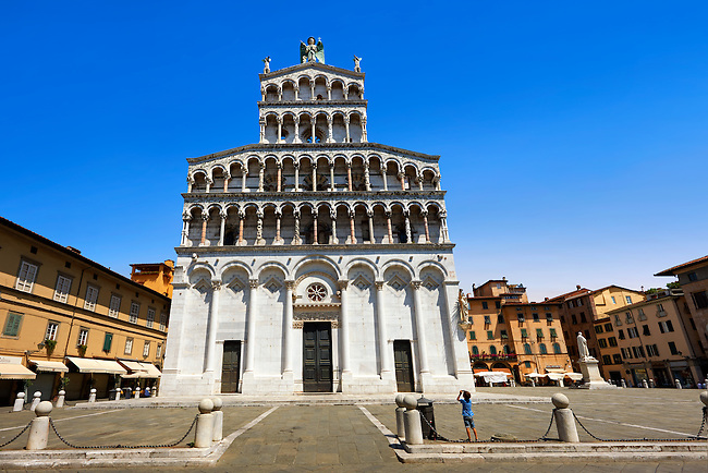 13th century Romanesque facade of the San Michele in Foro is a Roman Catholic basilica church in Lucca, Tunscany, Italy