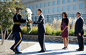 United States President Barack Obama with first lady Michelle Obama and U.S. Secretary of Defense Leon Panetta commemorate the 11th anniversary of the 9-11 attacks with a wreath laying ceremony at the Pentagon, on September, 11, 2012 in Arlington, Virginia..Credit: Olivier Douliery / Pool via CNP