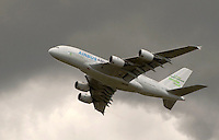 Airbus A380 superjumbo at the Farnborough International Airshow .  The largest commercial airliner in the world carrying between 500 and 853 passengers depending on configuration..