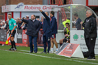 Cheltenham manager Gary Johnson and his assistant Russell Milton during the Sky Bet League 2 match between Cheltenham Town and Crawley Town at the LCI Rail Stadium, Cheltenham, England on 15 October 2016. Photo by Mark  Hawkins.