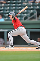 Second baseman Grant Massey (16) of the Kannapolis Intimidators bats in a game against the Greenville Drive on Thursday, Aug. 18, 2016, at Fluor Field at the West End in Greenville, South Carolina. Greenville won, 2-0. (Tom Priddy/Four Seam Images)