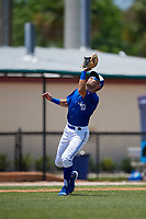 Dunedin Blue Jays third baseman Cullen Large (4) catches a popup during a Florida State League game against the Jupiter Hammerheads on May 16, 2019 at Jack Russell Memorial Stadium in Clearwater, Florida.  Dunedin defeated Jupiter 1-0.  (Mike Janes/Four Seam Images)