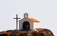 Collioure. Roussillon. The chapel on the hill on the beach and the crucifix. France. Europe.