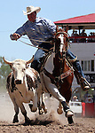 Steer Wrsetling at Cheyenne Frontier Days Rodeo