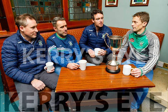 Na Gaeil's  Chairman Tim Lynch, manager Donal Rooney, captain Eoin Doody and Paul Daly having a chat in the clubhouse on Monday