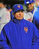 New York Mets manager Terry Collins (10) paces in the dugout in the ninth inning against the Washington Nationals at Nationals Park in Washington, D.C. on Wednesday, April 8, 2015.  The Nationals won the game 2-1.<br /> Credit: Ron Sachs / CNP<br /> (RESTRICTION: NO New York or New Jersey Newspapers or newspapers within a 75 mile radius of New York City)