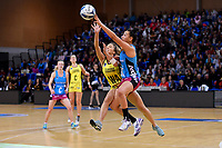 Steel's Courtney Elliott and Pulse&rsquo; Mila Reuelu-Buchanan in action during the ANZ Premiership - Pulse v Steel at Te Rauparaha Arena, Porirua, New Zealand on Wednesday 30 May 2018.<br /> Photo by Masanori Udagawa. <br /> www.photowellington.photoshelter.com