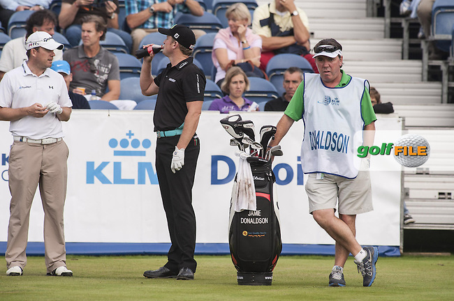08-09-12 European Tour 2012, KLM Open, Hilversumsche Golf, Hilversum, The Netherlands. 06-09 Sep. Jamie  Donaldson of Wales with caddie during the third round. / Deloitte.Picture: golfsupport/golffile.ie.