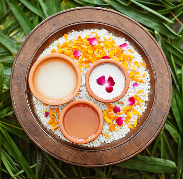 Ingredients for the Wild Rose Salt Glow at Ananda Spa, Ananda in the Himalayas, The Palace Estate, Narendra Nagar, Tehri Garhwal, Uttarakhand, India. This exfoliating scrub is used in a spa treatment designed to smoothen and revitalize the skin.