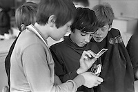 Collecting cards, Whitworth Comprehensive School, Whitworth, Lancashire.  1970.