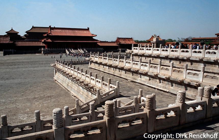 China, Kaiserpalast von Peking, Tor der höchsten Harmonie, Blick von Norden, Unesco-Weltkulturerbe
