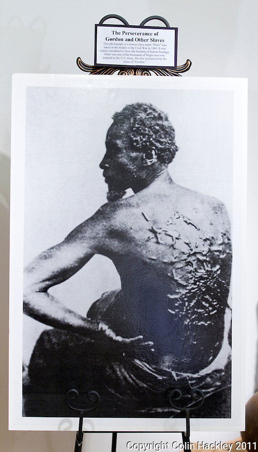 TALLAHASSEE, FLA. 7/15/11-VFBA071511 CH-This photo of whip-scarred former slave Gordon is a powerful testament to the brutality endured by many slaves. The image is on display at the Black Archives Research Center on the campus of Florida A&M University in Tallahassee, Fla..COLIN HACKLEY PHOTO