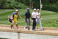 From left to right Tiger Woods (USA) and Rory McIlroy (NIR) and Justin Thomas (USA) walk the 8th hole during the first round of the 100th PGA Championship at Bellerive Country Club, St. Louis, Missouri, USA. 8/9/2018.<br /> Picture: Golffile.ie | Brian Spurlock<br /> <br /> All photo usage must carry mandatory copyright credit (© Golffile | Brian Spurlock)