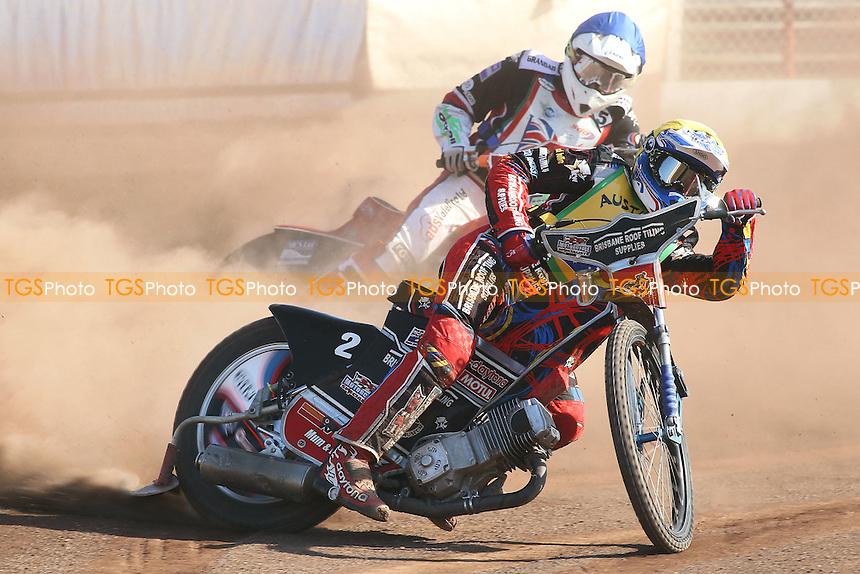 Heat 6: Nick Morris (Australia) ahead of Tom Perry (GB) - FIM Speedway World Under-21 Team Cup Semi Final at Arena Essex Raceway, Purfleet - 27/05/12 - MANDATORY CREDIT: Gavin Ellis/TGSPHOTO - Self billing applies where appropriate - 0845 094 6026 - contact@tgsphoto.co.uk - NO UNPAID USE.