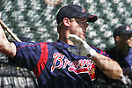 Brian McCann gets in some batting practice during Atlanta Braves baseball spring training at Disney's Wide World of Sport complex in Lake Buena Vista, Fla., Tuesday, Feb. 28, 2006.(AP Photo/Brian Myrick)