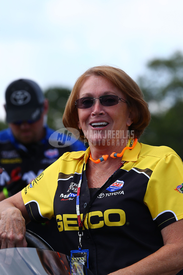 Aug. 16, 2013; Brainerd, MN, USA: NHRA sponsor Charlotte Lucas during qualifying for the Lucas Oil Nationals at Brainerd International Raceway. Mandatory Credit: Mark J. Rebilas-