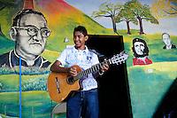 Performance of the 'Music for Hope' project bands, Los Reyas and Los Sin Casa at the 'Feria e intercambio de logros de campesinos y campesinas' in the village of Amando Lopez, El Salvador.