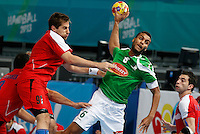 15.01.2013 World Championshio Handball. Match between Algeria vs Egypt (24-24) at the stadium La Caja Magica. The picture show Messaoud Berkous (Back of Algeria)