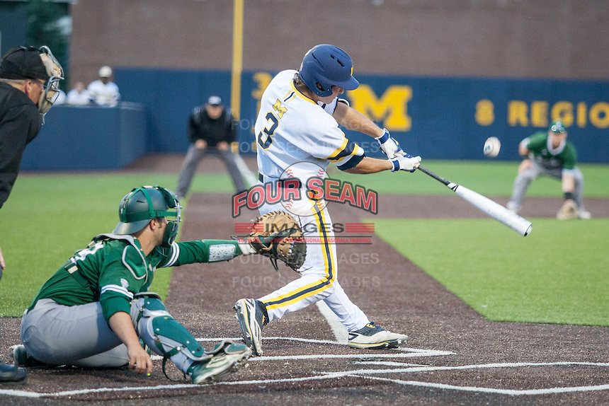 Michigan Wolverines outfielder Cody Bruder (3) swings the bat against the Eastern Michigan Hurons on May 3, 2016 at Ray Fisher Stadium in Ann Arbor, Michigan. Michigan defeated Eastern Michigan 12-4. (Andrew Woolley/Four Seam Images)