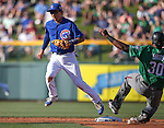 Chicago Cubs' Munenori Kawasaki tags second to get Diamondbacks' Socrates Brito out during a spring training game in Mesa, Ariz., on Thursday, March 17, 2016.  The Cubs won 15-4.<br />Photo by Cathleen Allison