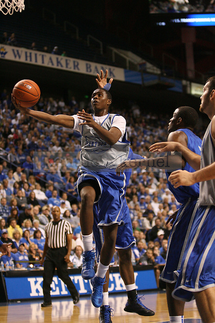 Freshman Doron Lamb attempts a layup during the first half of  UK's mens basketball Blue White scrimmage held at Rupp Arena Tuesday, Oct. 26, 2010. Photo by Brandon Goodwin | Staff