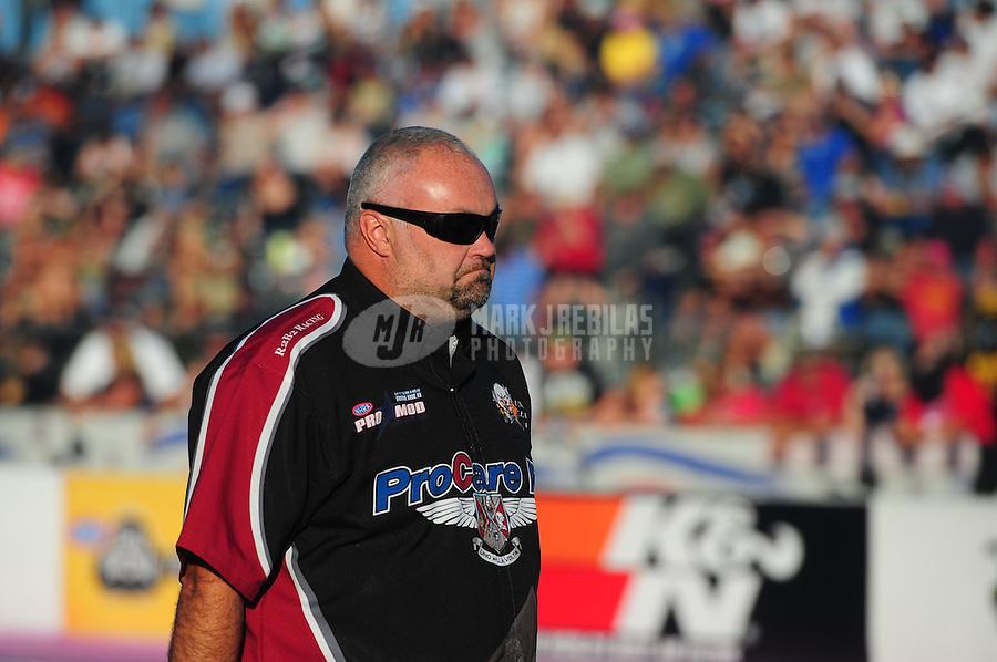 Oct. 30, 2011; Las Vegas, NV, USA: NHRA crew chief Steve Petty for pro mod driver Leah Pruett during the Big O Tires Nationals at The Strip at Las Vegas Motor Speedway. Mandatory Credit: Mark J. Rebilas-