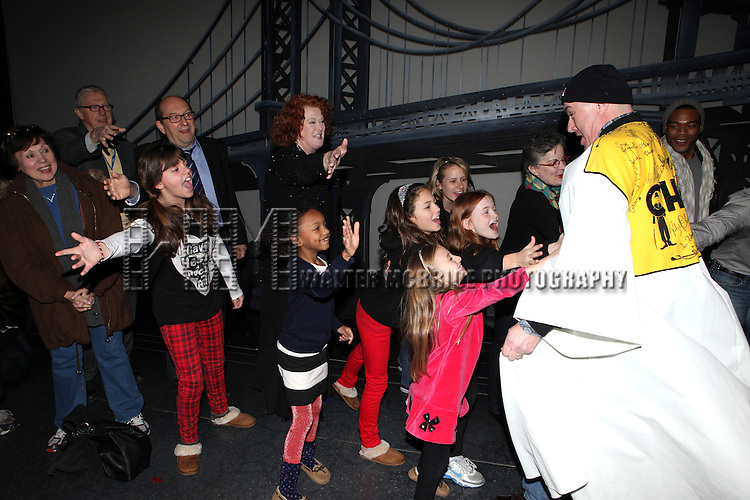 Liz McCartney with Merwin Foard & Company attending the Broadway Opening Night Performance  Gypsy Robe Ceremony celebrating Merwin Foard recipient  for 'Annie' at the Palace Theatre in New York City on 11/08/2012