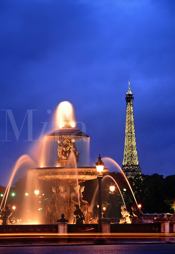 Fountain at Place de la Concorde and Eiffel Tower Paris France
