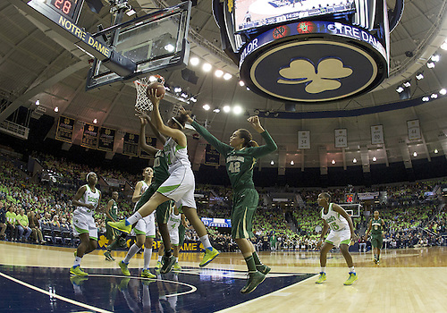 December 05, 2012:  A general view as Notre Dame guard Kayla McBride (21) goes grabs the rebound during NCAA Women's Basketball game action between the Notre Dame Fighting Irish and the Baylor Bears at Purcell Pavilion at the Joyce Center in South Bend, Indiana.  Baylor defeated Notre Dame 73-61.