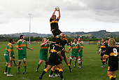 J. Chamberlin takes uncontested lineout ball.  Counties Manukau Premier Club Rugby, Drury vs Bombay played at the Drury Domain, on the 14th of April 2006. Bombay won 34 - 13.