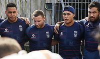 Warriors captain Roger Tuivasa-Sheck talks to his team mates ahead of training.<br /> Vodafone Warriors training session. Mt Smart Stadium, Auckland, New Zealand. NRL Rugby League. Wednesday 9 May 2018 &copy; Copyright photo: Andrew Cornaga / www.photosport.nz
