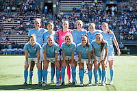 Seattle, WA - Sunday April 17, 2016: Sky Blue FC starting XI. Sky Blue FC defeated the Seattle Reign FC 2-1during a National Women's Soccer League (NWSL) match at Memorial Stadium.