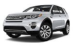 Stock pictures of low aggressive front three quarter view of 2016 Land Rover Discovery Sport HSE Luxury 5 Door Suv Low Aggressive