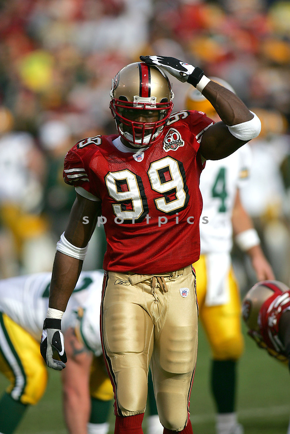 MANNY LAWSON, of the San Francisco 49ers, during their game  against the Green Bay Packers on December 10, 2006 in San Francisco, CA...Green Bay win 30-19..ROB HOLT/ SPORTPICS