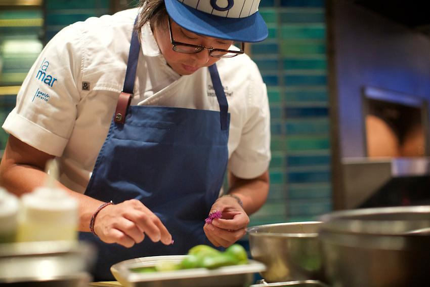 New York, NY - August 4, 2016: Peruvian chef Diego Oka of La Mar in Miami cooks at Chef's Club in SoHo.<br /> <br /> CREDIT: Clay Williams.<br /> <br /> &copy; Clay Williams / claywilliamsphoto.com