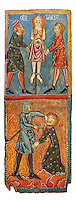 Gothic painted wood panels with scenes of the Martyrdom of Saint Lucy<br /> Circa 1300. Tempera on wood. Date Circa 1300. Dimensions 66 x 25.8 x 2 cm. From the parish church of Santa Ll&uacute;cia de Mur (Gu&agrave;rdia de Noguera, Pallars Juss&agrave;). National Museum of Catalan Art, Barcelona, Spain, inv no: 035703-CJT