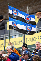 A Bath Rugby fan in the crowd waves a flag in support. Gallagher Premiership match, between Bath Rugby and Harlequins on March 2, 2019 at the Recreation Ground in Bath, England. Photo by: Patrick Khachfe / Onside Images