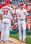 7 April 2016: Washington Nationals pitcher Max Scherzer is introduced on the field prior to the Nationals' Home Opening Game against the Miami Marlins at Nationals Park in Washington, DC. The Marlins defeated the Nationals 6-4 in their first meeting of the 2016 MLB season. Mandatory Credit: Ed Wolfstein Photo *** RAW (NEF) Image File Available ***