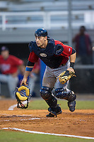 Elizabethton Twins catcher A.J. Murray (22) chases after a wild pitch during the game against the Kingsport Mets at Hunter Wright Stadium on July 8, 2015 in Kingsport, Tennessee.  The Mets defeated the Twins 8-2. (Brian Westerholt/Four Seam Images)