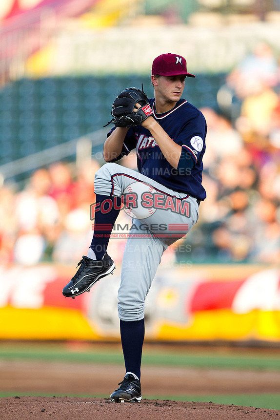 Jake Odorizzi (17) of the Northwest Arkansas Naturals winds up during a game against the Springfield Cardinals at Hammons Field on August 1, 2011 in Springfield, Missouri. Springfield defeated Northwest Arkansas 7-1. (David Welker / Four Seam Images)