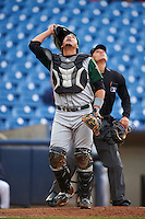 Fort Wayne TinCaps catcher Jose Ruiz (21) looks for a popup during a game against the Lake County Captains on May 20, 2015 at Classic Park in Eastlake, Ohio.  Lake County defeated Fort Wayne 4-3.  (Mike Janes/Four Seam Images)