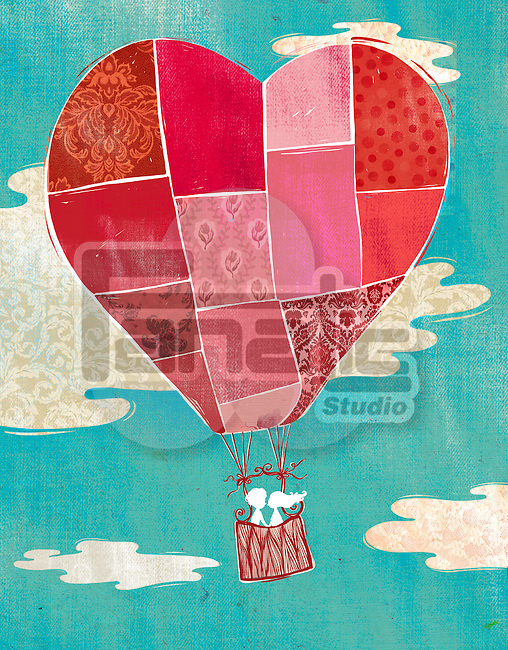 Illustration of couple in hot air balloon against cloudy sky