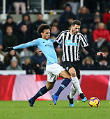 29th January 2019, St James Park, Newcastle upon Tyne, England; EPL Premier League football, Newcastle United versus Manchester City; Leroy Sane of Manchester City challenges Fabian Schar of Newcastle United