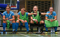 20190915– HALLE , BELGIUM : FP Halle-Gooik Girls A players Romy Renmans,  Morgana Wijns, Nena Suet and Camille Vanhoorne-Ramboer are pictured during the Belgian Women's Futsal D1 match between FP Halle-Gooik A and FP Halle-Gooik B on Sunday 15th 2019 at the De Bres Sport Complex in Halle, Belgium. PHOTO SPORTPIX.BE | Sevil Oktem