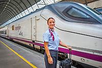 Spain, Seville. Renfe trains, Staff at Seville train station.