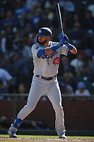 SAN FRANCISCO, CA - SEPTEMBER 28:  Edwin Rios #43 of the Los Angeles Dodgers bats against the San Francisco Giants during the game at Oracle Park on Saturday, September 28, 2019 in San Francisco, California. (Photo by Brad Mangin)