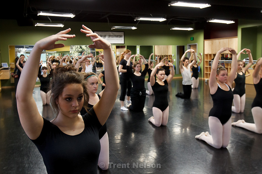 Trent Nelson  |  The Salt Lake Tribune.Students stretch in a ballet class at the Pioneer High School for the Performing Arts Tuesday November 13, 2012 in American Fork.