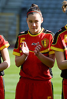 20140410 - BRUSSELS , BELGIUM : Belgian Elien Van Wynendaele pictured during the female soccer match between BELGIUM U19 and GERMANY U19 , in the third and final game of the Elite round in group 4 in the UEFA European Women's Under 19 competition 2014 in the Koning Boudewijn Stadion , Thursday 10 April 2014 in Brussels . PHOTO DAVID CATRY