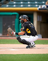 Tony Sanchez (27) of the Salt Lake Bees during the game against the Fresno Grizzlies in Pacific Coast League action at Smith's Ballpark on April 17, 2017 in Salt Lake City, Utah. The Bees defeated the Grizzlies 6-2. (Stephen Smith/Four Seam Images)